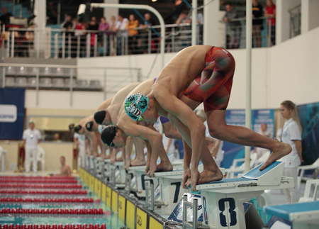 St. Petersburg, Russia, December 22-23, 2017  XI International swimming competition Vladimir Salnikov Cup swimmers at the start