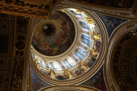 Saint Petersburg, Russia February 17, 2015: Dome of the St. Isaacs Cathedral from inside