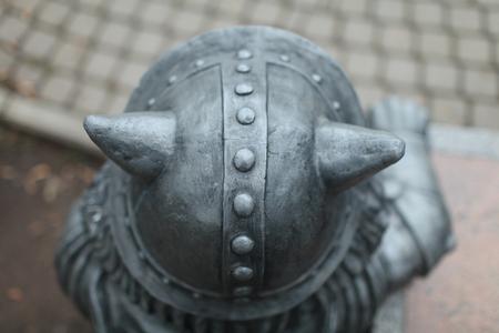 Horned Viking helmet from above Standard-Bild