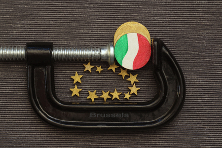 coin italy is clamp pressure, concept Italy in a vice Brussels