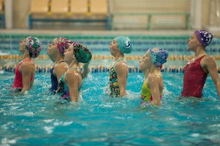 St. Petersburg, Russia, December 22-23, 2017  XI International swimming competition Vladimir Salnikov Cup synchronized swimming presentation, breathe deeply