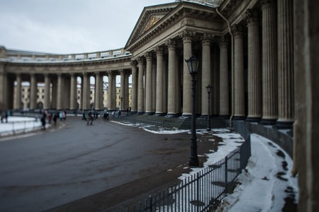 St. Petersburg, Russia, 4 March 2018, Sunday townspeople go to Kazan Cathedral