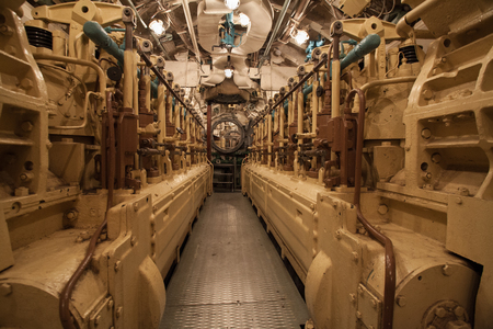 diesels in the engine room inside on a submarine
