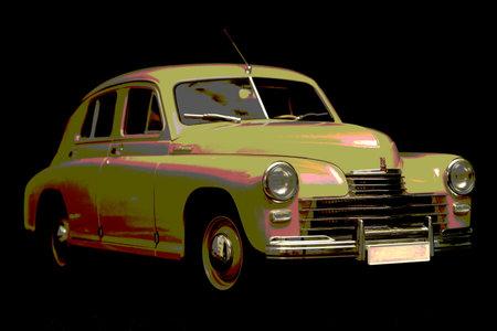 Soviet retro car Gaz M 20 1946 model year  on black background