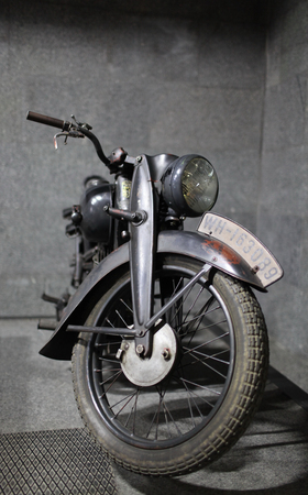 Germany CIRCA 1940, German military motorcycle DKV RT 125 front view in the garage