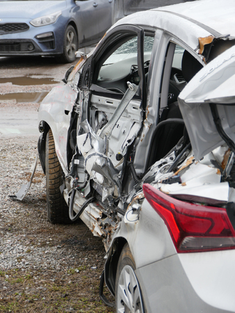St. Petersburg, Russia April 3, 2019 Hyundai Solaris after a car accident airbags did not work back view
