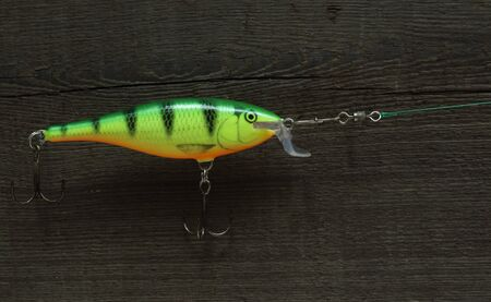 crankbait lure fishing tackle for catching of predatory fish close to Banco de Imagens
