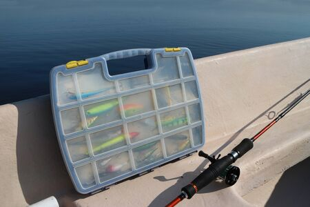 box with fishing lures on board the boat Banco de Imagens