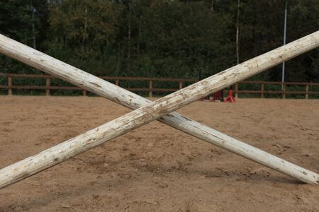 Show jumping course, Crosspiece hurdle close to