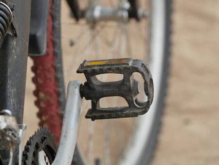 mountain bike pedal close-up, concept of beginning to move forward