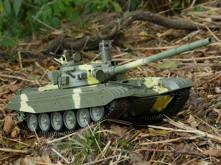 mighty tank T-72 in combat position closeto