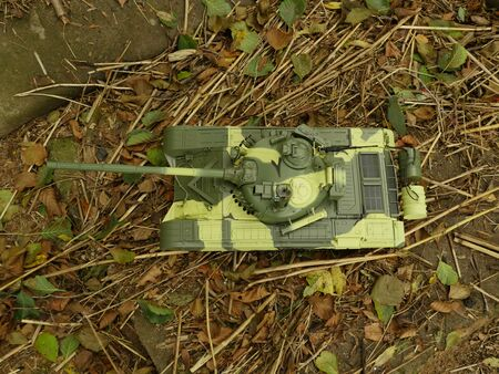 tank T-72 green camouflage, view from above Reklamní fotografie