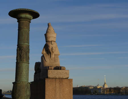 St. Petersburg, Russia, January 15 , 2020. Egyptian sphinx with face of pharaoh Amenhotep Redakční