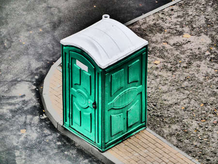 Mobile street green water closet top view