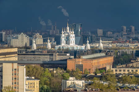 St. Petersburg from bird's-eye view Smolny convent, temples, factories, buildings