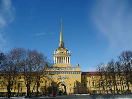 St. Petersburg, Russia, March 12, 2021.Admiralty building, main entrance with a tower and a golden spire with a weather vane