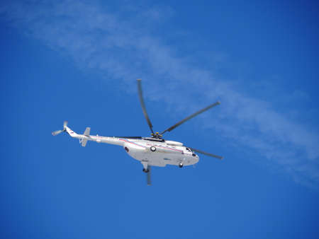 St. Petersburg, Russia, January 29, 2020. Russian helicopter Mi-8MTV flies in the blue sky
