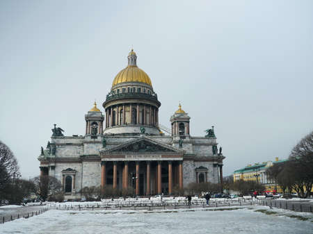 St. Petersburg, Russia, March 12, 2021 The most beautiful Issaac Cathedral in St. Petersburg, marble colonnades, golden domes, magnificent bronze sculpture, a masterpiece of architecture Editorial