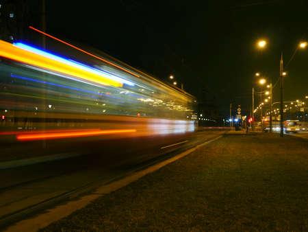 night tram motion blur Light Trails Standard-Bild