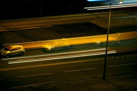 night road blurry traffic light trails, Long exposure