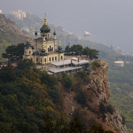 Top view Church of Holy Resurrection of Christ on Red cliff and township Foros on Black sea coast, Crimea,