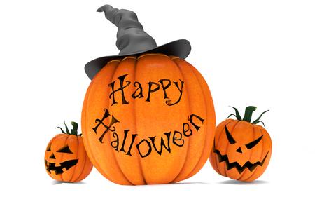cucurbit: Scary Jack O Lantern halloween pumpkins wearing black witch hat, 3d render Stock Photo