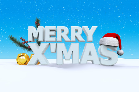 mas: Merry X Mas font on white snow and blue background with Santaclaus hat, small bell, and pine branches, 3d render