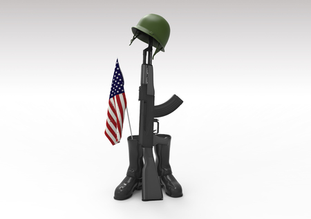 army boots: Fallen soldier tribute, helmet, gun, boots and flag, 3d render Stock Photo