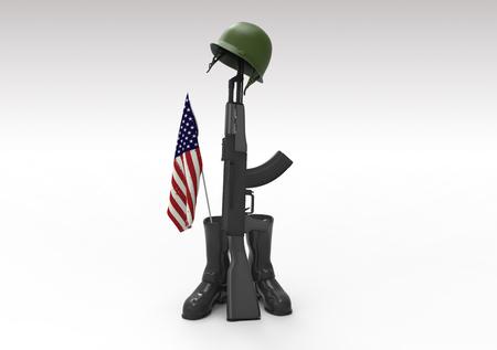soldado: Soldado caido del tributo, casco, pistola, botas y bandera, 3d Foto de archivo