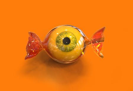 Balle des yeux Halloween bonbons sur fond orange, 3d Banque d'images - 49266680