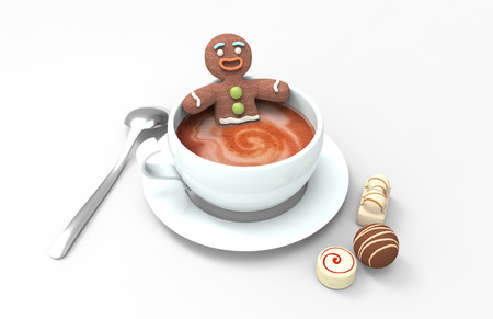 Gingerbread cookie man in a cup of hot coffee with various chocolates on white background