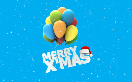 x mas: Merry X Mas font as colorful air balloons on white snow and blue background with Santa claus hat 3d render Stock Photo
