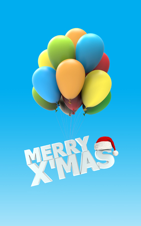 mas: Merry X Mas font as colorful air balloons on blue background with Santa claus hat 3d render