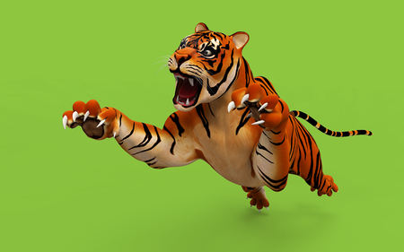 offend: Dangerous Bengal Tiger roaring and jumping isolated on green background, with clipping path, 3d digital rendered model
