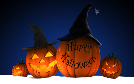 Scary Jack O Lantern halloween pumpkins wearing black witch hat on dark blue background, 3d render, 3d illustration Stock Photo