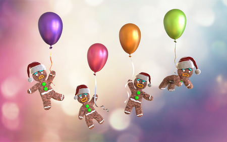 christmas cookie: Gingerbread man cookies holding colorful balloons floating on colorful background, 3d illustration Stock Photo