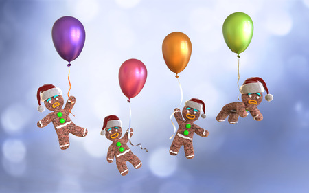 christmas cookie: Gingerbread man cookies holding colorful balloons floating on blue background, 3d illustration