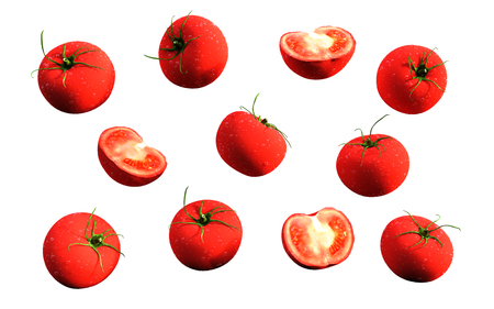 Tomatoes. red ripe tomatoes isolate on white background, 3d illustration. Stock Photo