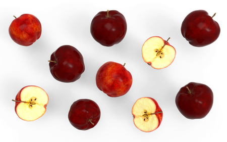 3d illustration red apple collection isolated on white background,3d render