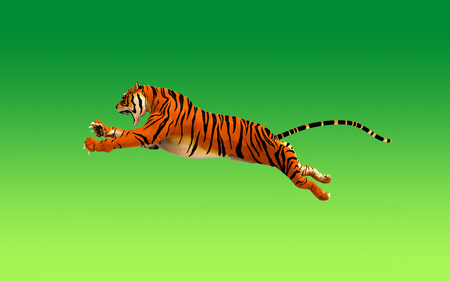 A tiger moving and jumping on green background, 3d illustration