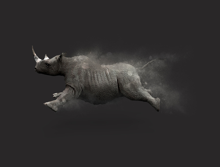 A Rhino moving and jumping with dust particle effect on gray background, 3d illustration