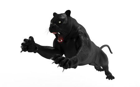 Aimant de panthère noire sur fond blanc, Tigre noir, illustration 3d, rendu 3D Banque d'images