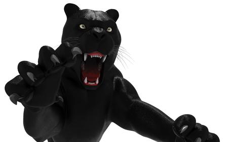 Zwarte panter isoleren op witte achtergrond, Zwarte tijger, 3d illustratie, 3d render