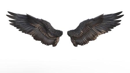Illustration 3d Dämon-Flügel, schwarzes Flügel-Gefieder lokalisiert auf weißem Hintergrund. Standard-Bild - 86110508