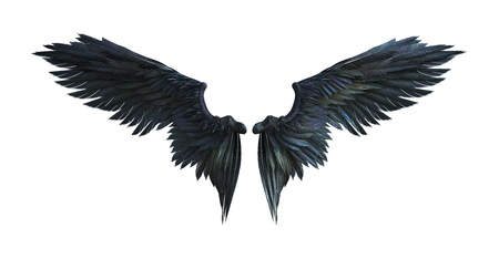 3d Illustration Demon Wings, Black Wing Plumage Isolated on White Background. Reklamní fotografie - 86045854