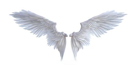 3d illustratie engel vleugels, witte vleugel vertering geïsoleerd op een witte achtergrond. Stockfoto