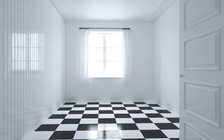 windows: White room with window, door and curtain, checker square black and white pattern floor 3d checker, modern style, 3d illustration, 3d Render, checkerboard floor Stock Photo