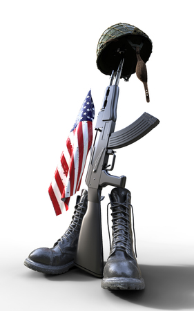 Día de los veteranos, tributo de soldado caído, casco, pistola, botas y bandera, 3d, ilustración 3d