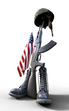 Veterans Day, Fallen soldier tribute, helmet, gun, boots and flag, 3d render, 3d illustration