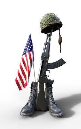 american hero: Veterans Day, Fallen soldier tribute, helmet, gun, boots and flag, 3d render, 3d illustration